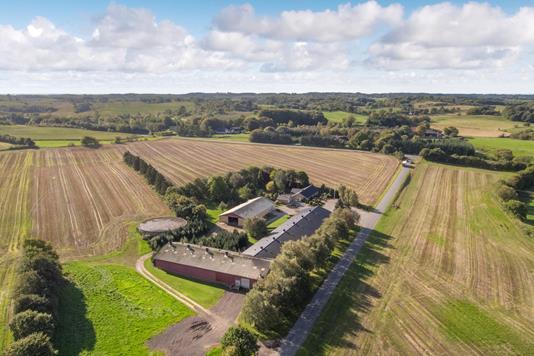 Planteavlsgård på Refstrupvej i Gadbjerg - Luftfoto