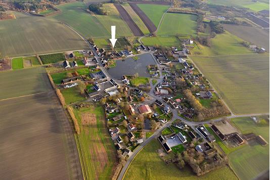 Planteavlsgård på Ved Dammen i Havndal - Luftfoto