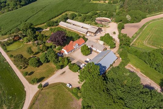 Planteavlsgård på Hestholmvej i Assens - Luftfoto